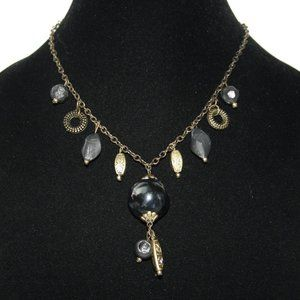 Bronze boho necklace with black beads